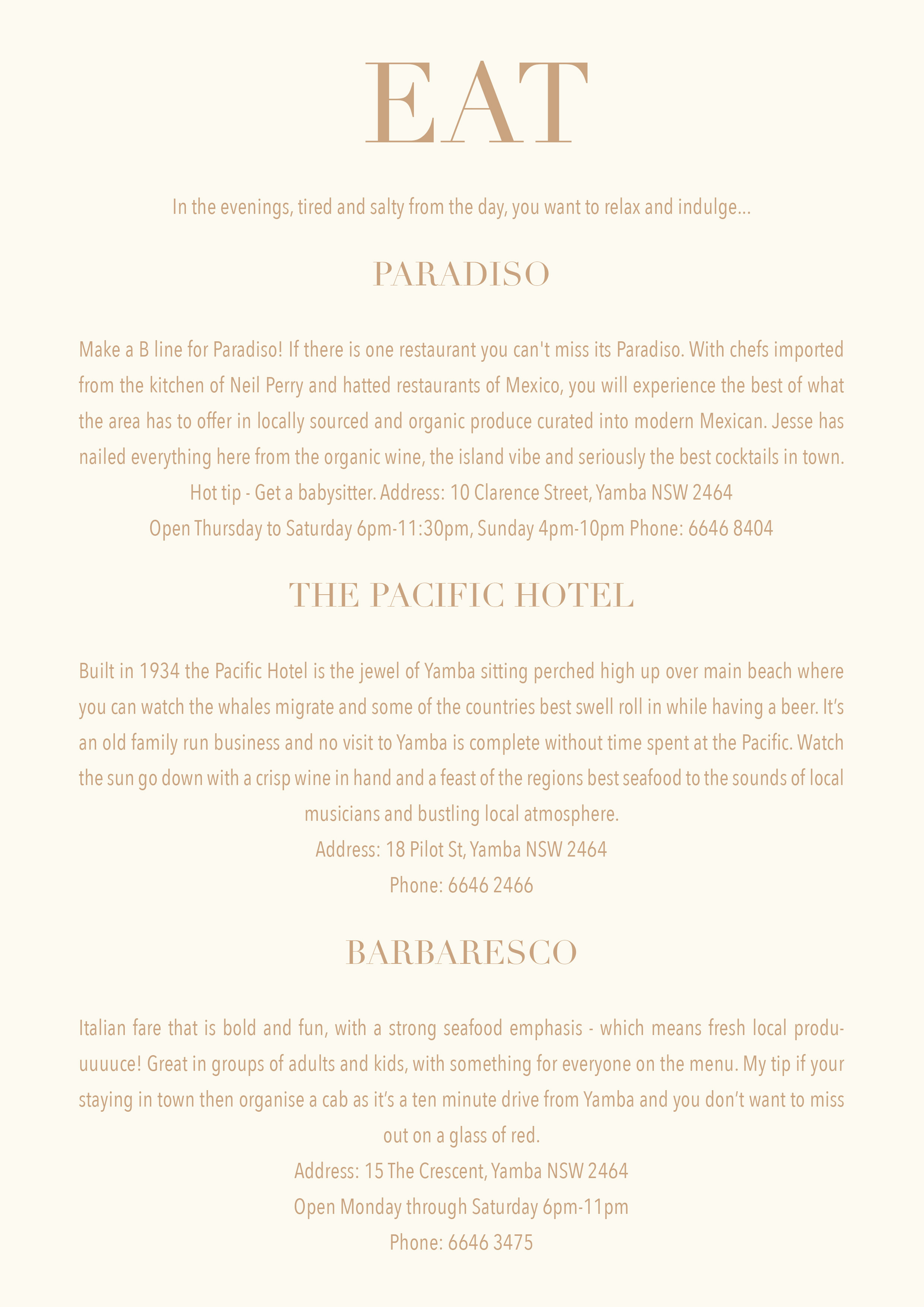 yamba travel guide nsw east coast beach holiday catgk captain and the gypsy kid eat paradisio the pacific hotel barbaresco eat